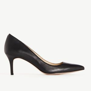 Ann Taylor Eryn Leather Pumps Black 7 Kitten Heels